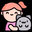 Camille et son chat, on ne sait pas trop si c'est ET ou Yeti.